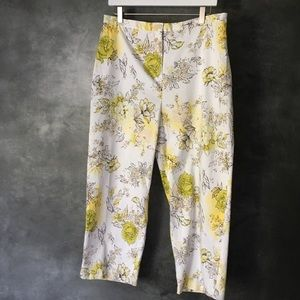 Coldwater creek yellow floral capris size 16